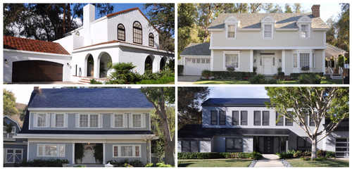 Four styles of roof tiles