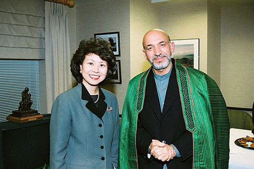 Elaine Chao with Hamid Karzai