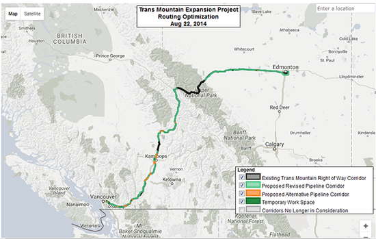 Trans Mountain expansion map