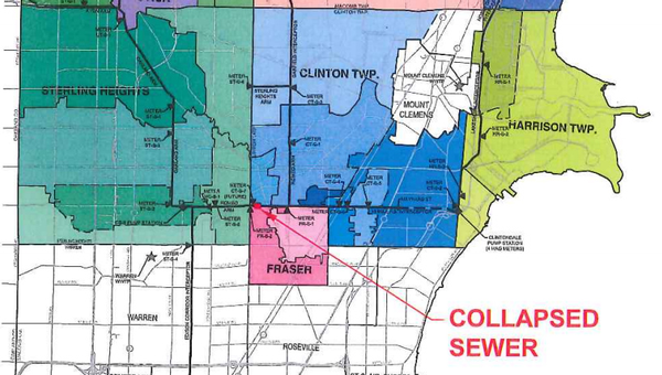 Map of sewer collapse