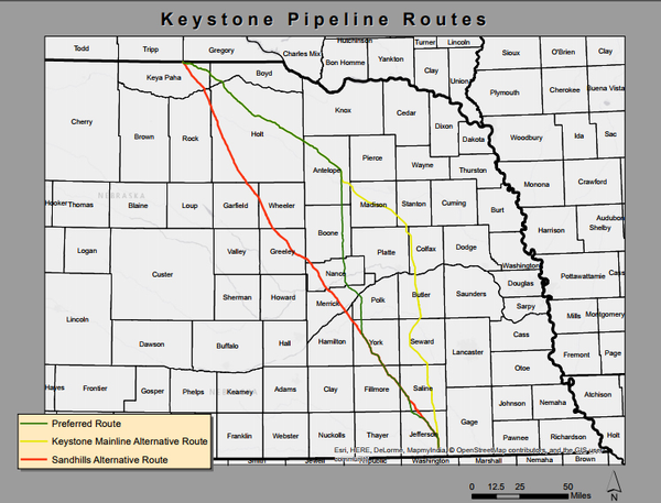 Keystone XL routing