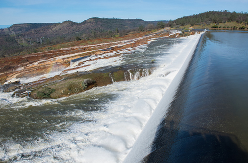 Release over Oroville auxiliary spillway