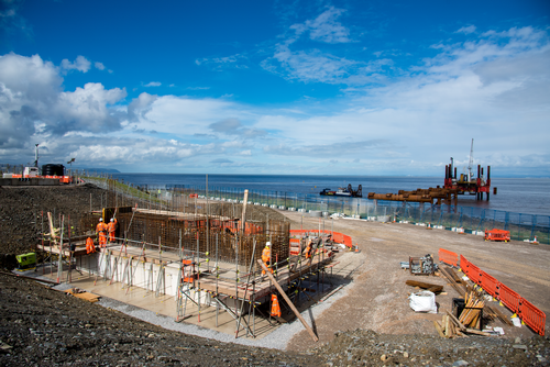 Jetty construction at Hinkley Point