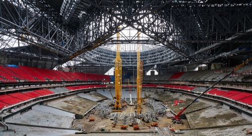 Atlanta stadium construction racing toward new deadline for Who owns mercedes benz stadium