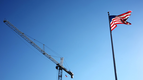 Crane and flag