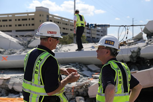 NTSB investigation at FIU bridge collapse site