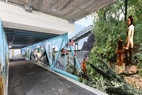 Pedestrian tunnel mural