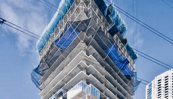 Jenga Tower Reshaping Austin Skyline