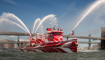 Historic NYC Fire Boat's Paint Job Dazzles